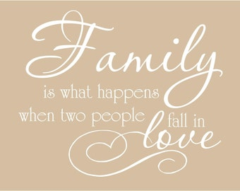 Family is what happens when two people fall in love 27x22 Vinyl Decal Wall Art Lettering Decals