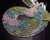 2xAAA - High Quality - 14 inches -  AQUAMARINE - Shaded - Micro Faceted Rondell Beads Super Sparkle size 4.5 - 5 mm approx