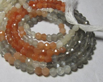 2x14 inches - AAAA - High Quality - Multy MOONSTONE - Micro Faceted Round Ball Beads - Super Sparkle - size 4 mm approx