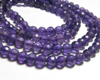 3x14 Inches AAA - Gorgeous High Quality Natural Amethyst - Nice Purple  Super Sparkle - Micro Faceted Round BALL Beads Huge size 5 mm Approx