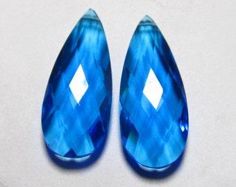 Matched Pair - Super Sparkle - Swiss Blue QUARTZ - Faceted Pear Briolett Huge size 12x30 mm Long  - Drilled