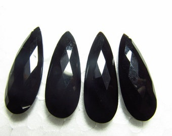 2 Matched Pair - 12x35 mm Long - Gorgeous GREEN BLACK ONYX - Faceted Pear Briolett Drilled