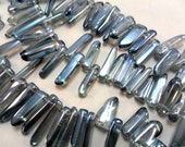 Gemstone Beads,Large Blue Silvered Quartz Points, Fangs, tooth beads, Branch beads,,  12- 28x5mm 8 inches 30-35pcs