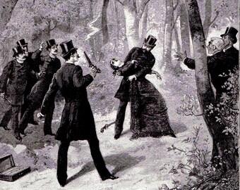 Antique art  print Duel Dueling