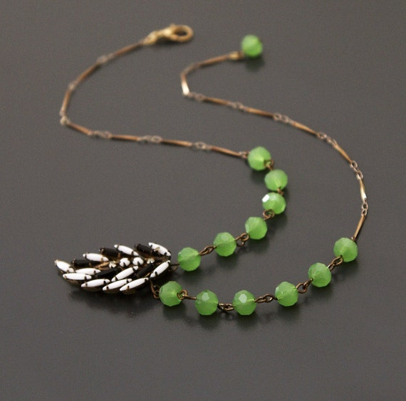 Vintage Rhinestone Leaf Necklace in Black White and Spring Green.