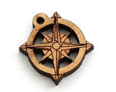 "Compass Rose Charms - 1"" Size - Laser Cut Wood  Etsy Itsies by Timber Green Woods"
