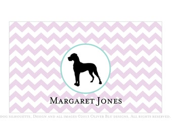Great Dane personalized stationery - Chevron pattern, six color options