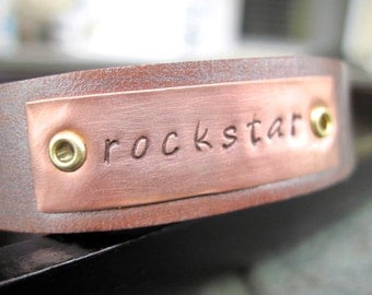 Customizable Hand stamped Leather Bracelet