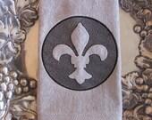 Fleur de Lis - Embossed - Fingertip Velour Bathroom Towel 11x18 - JD Designs