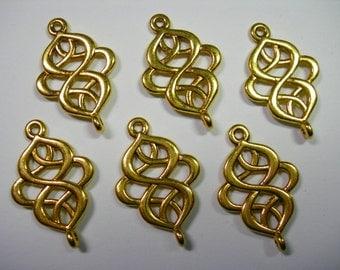 Gold color swirls drops, loops, connectors, links, 6 - 28mm