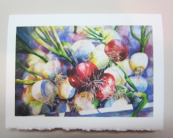 Onion 5 x 7 note card watercolor print, Dont Cry for Me, red vegetables watercolorsNmore