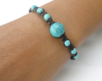 Turquoise BEAD Macrame Wax COTTON Buddhist Wristband Womens Gemstone Bracelet Brass Jingle Bells