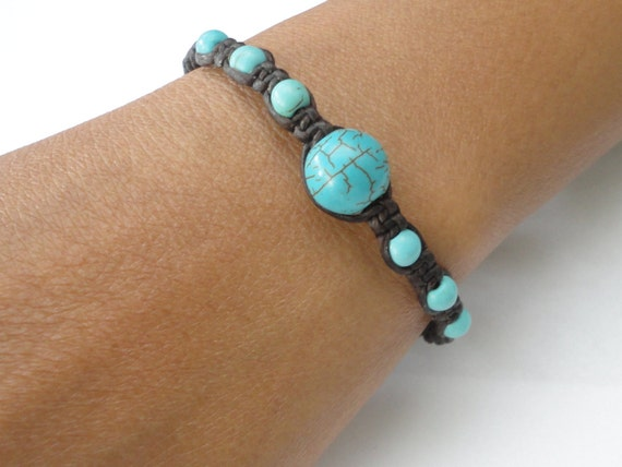 Turquoise BEAD Macrame Wax COTTON Buddhist Wristband Womens Gemstone Bracelet Brass Jingle Bells