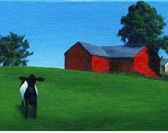 Belted Galloway near a Red Barn - 4 x 6 Print of Original Painting by SBMathieu