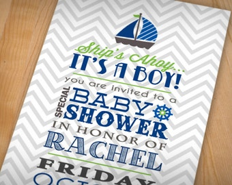 SHIP'S AHOY Baby Boy Shower Printable Invitation in Lime Green and Navy Blue