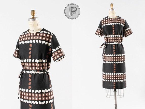 1960s dress medium large / 60s geometric print dress : Shannon