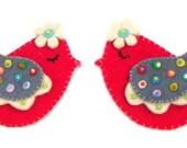 Curtain Holders- Curtain Tie Backs Magnet  With Felt Folk Art  Birds With Dots Winged