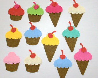 36 Pieces, 12 Sets  Die Cut Felt Cupcakes and Ice Creams, Colorful DIY Kit