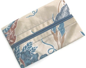 Travel Tissue Cozy, Kleenex Holder, Personal Tissue Pack, Pocket Tissue Pouch, Vintage Blue Flowers on Tan Background