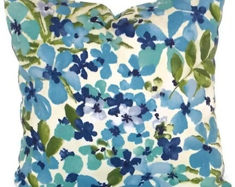 "Waverly Sun 'N Shade Decorative Pillow Cover 18"" X 18""  Aqua, Blue, Green, Navy"