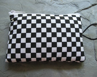 checkered flag makeup jewelry padded bag