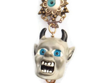 Evil Eye Devil Razor Kitsch Vintage Recycle OOAK necklace