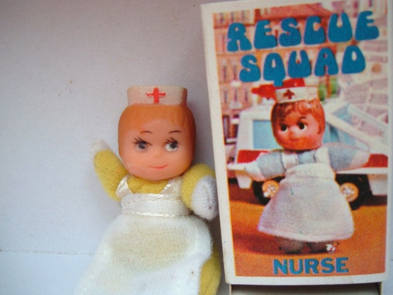 Rescue Squad Nurse vintage dolly in a matchbox made in Hong Kong Nurse toy
