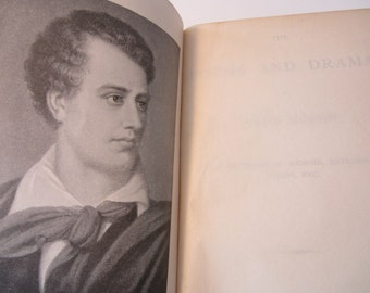 Antique Book  The Poems and Dramas of Lord Byron Biographical Memoir