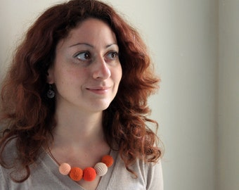 Fresh Orange Crochet Necklace / Wooden Necklace / Crochet Beaded Necklace Made in Israel by CasaDeGato