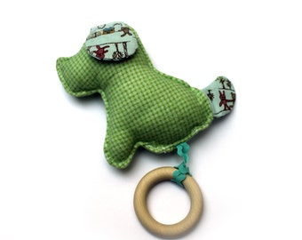 Soft Flanel Dog Toy with Detachable Wood Teething Ring / Baby Comforter