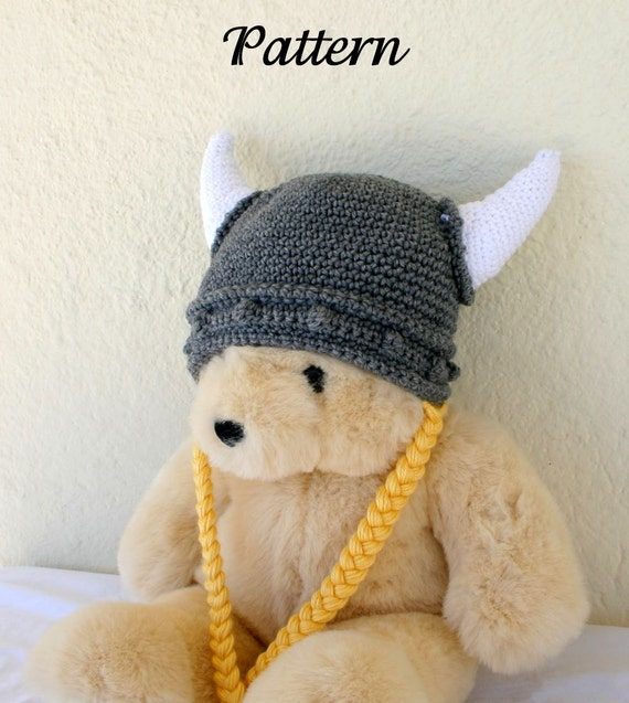 Viking hat PDF crochet PATTERN child teen adult gray white yellow ...