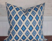 Going out of Business SALE - Decorative Pillow Cover: 18 X 18 Accent Throw Pillow Cover in an Ikat Argyle Pattern in Arctic Blue