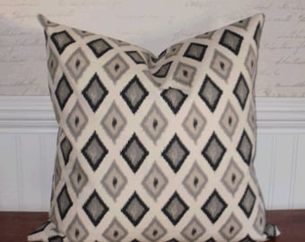 Going out of Business SALE ~ Decorative Pillow Cover: 18 X 18 Accent Throw Pillow Cover in an Ikat Argyle Pattern in Shades of Gray