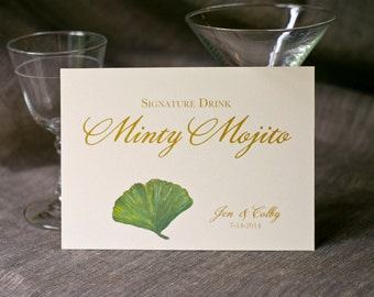 Drink Sign -Ginkgo leaf - green leaves - Decoration for Weddings, events, Showers, Parties