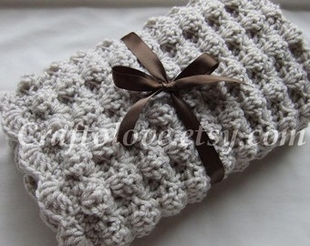 Crochet baby blanket - Baby Boy Blanket- Baby Girl Blanket - Unisex baby blankets- Natural Oatmeal Puffy Stroller/Travel/Car seat blanket