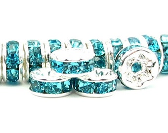 24 pcs 4mm 5mm 6mm 7mm Rhinestone Rondelle beads silver plated over brass - middle east stone - aqua blue