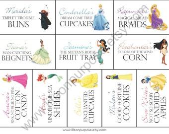 Princess Party Food Tags