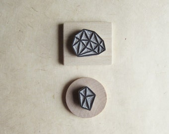 Crystal Configuration 33 - Hand Carved Stamp Set of Two