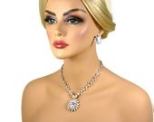 Cubic Zirconia Wedding Jewelry Set,  Vintage Inspired Bridal Necklace, Pendant Necklace, Crystal Necklace with Drop Back