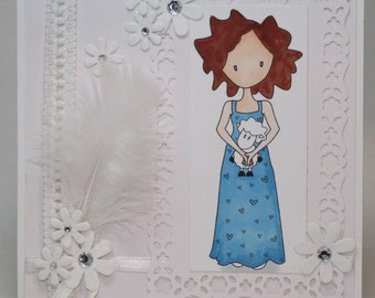 Girl and her sheep   -  OOAK card