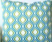 Aqua OUTDOOR Pillow Covers, Decorative Throw Pillows, Cushion Covers, Green Aqua White Geometric Patio Pair of  Two 16 x 16