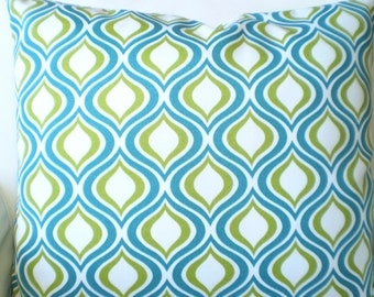 Aqua OUTDOOR Pillow Covers, Decorative Throw Pillows, Cushion Covers, Green Aqua White Geometric Patio Pair of  Two 16 x 16