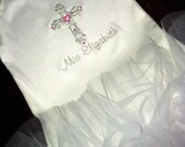 Baptismal Christening Baby Dedication Tulle Boutique Onesie Cross Embroidered 3 MOS to 12 MOS