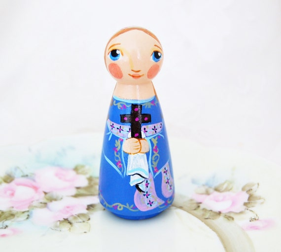 St Natalie Catholic Saint Doll - Wooden Toy - Made to Order