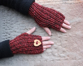 Fingerless gloves - Valentine mittens with love heart wooden button in rosehip shade