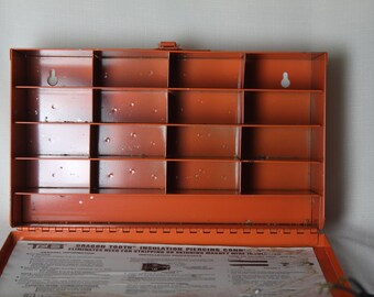 Metal Storage Box Dividers Handle Industrial Electrical Apparatus Storage Orange divided Many uses Steel Stores Electric components