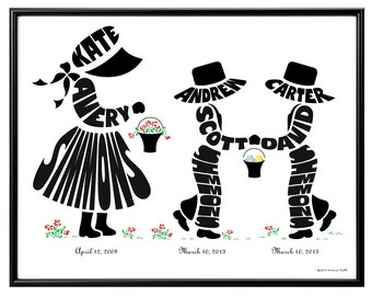Personalized Big Sister to Twin Brothers Silhouette Print, Custom Children's Room Art, Gift for Twin Boys