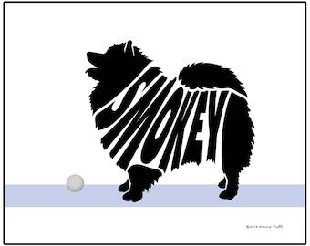 Personalized Keeshond Silhouette Print, Dog Lover's Gift, Custom Dog Name Art, Dog Memorial Gift, Custom Pet Gift