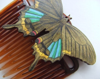 Bohemian, Lady of the Day, Wooden, BUTTERFLY, Hair comb, hair accessory, by NewellsJewels on etsy