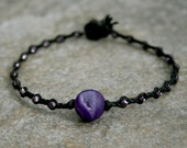 Purple Druzy Stone Braided Beaded Beach Bracelet in Black or Gray MADE TO ORDER